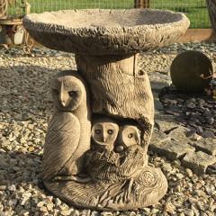 Borderstone Owl Family Bird Bath