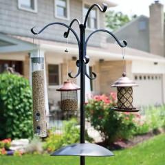 Black Deluxe Four Way Bird Feeding Station