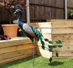 Standing Metal Peacock